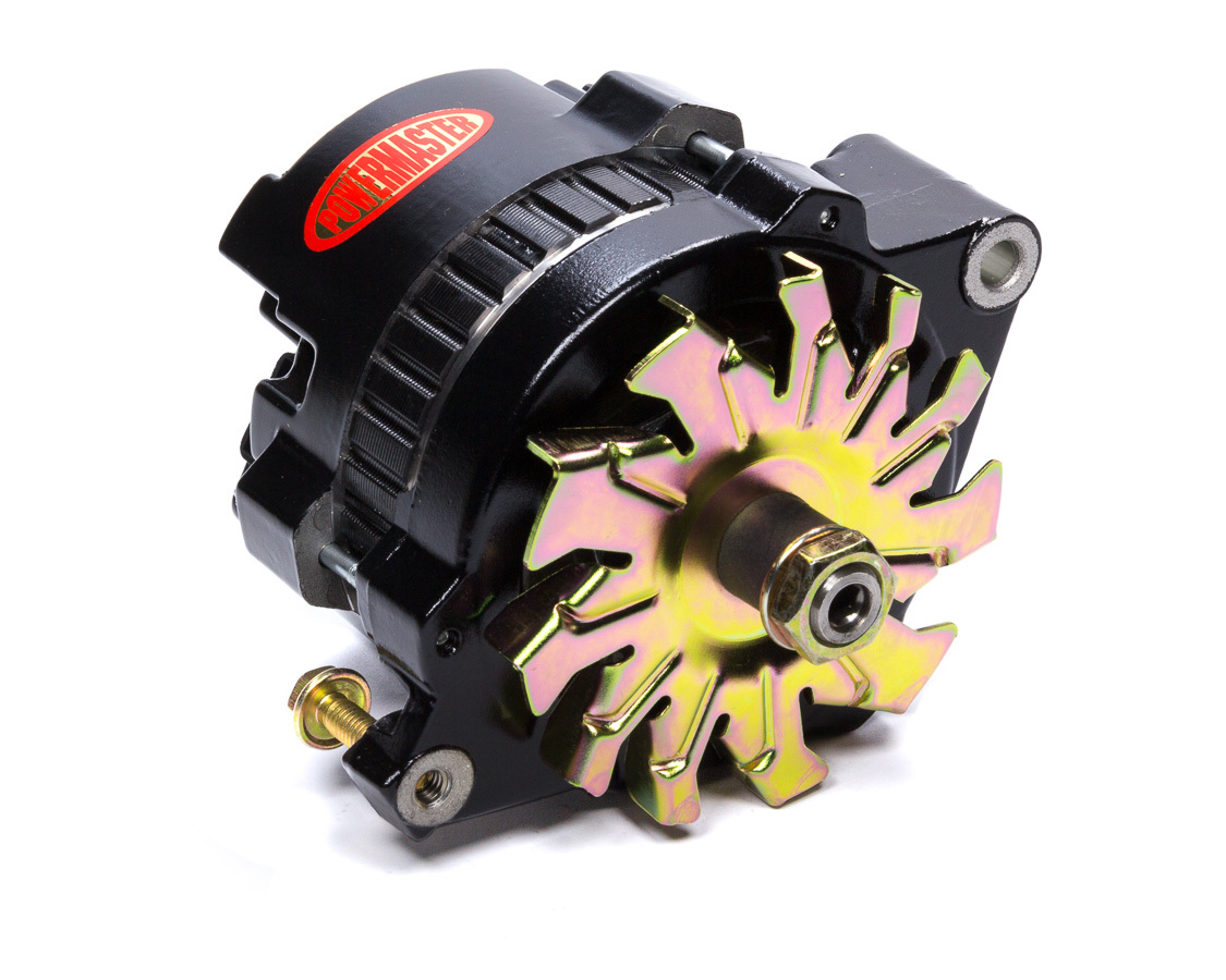 Powermaster 8066 Alternator, GM Style Race, 100 amp, 16V, 1-Wire, No Pulley, Black, Rear Post Battery, GM, Each