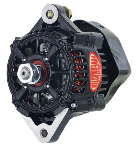 Powermaster 8163 Alternator, Denso Style Race, 75 amp, 12V, 1-Wire, No Pulley, Black Powder Coat, Denso Style, Each
