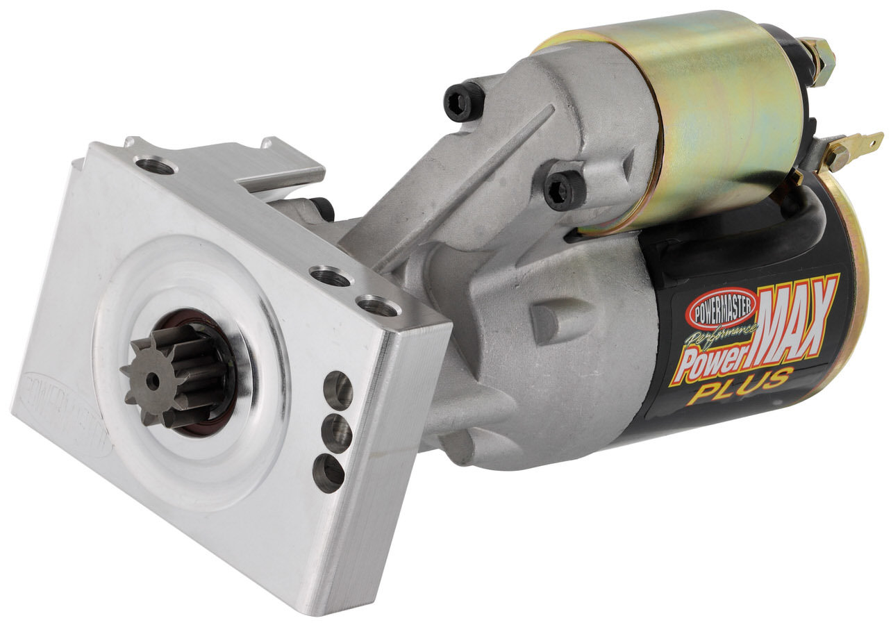 Powermaster 9012 Starter, PowerMAX Plus, 3.7:1 Gear Reduction, Black Paint, 168 Tooth Flywheel, Hitachi-Style, Stagger Mount, Chevy V8, Each