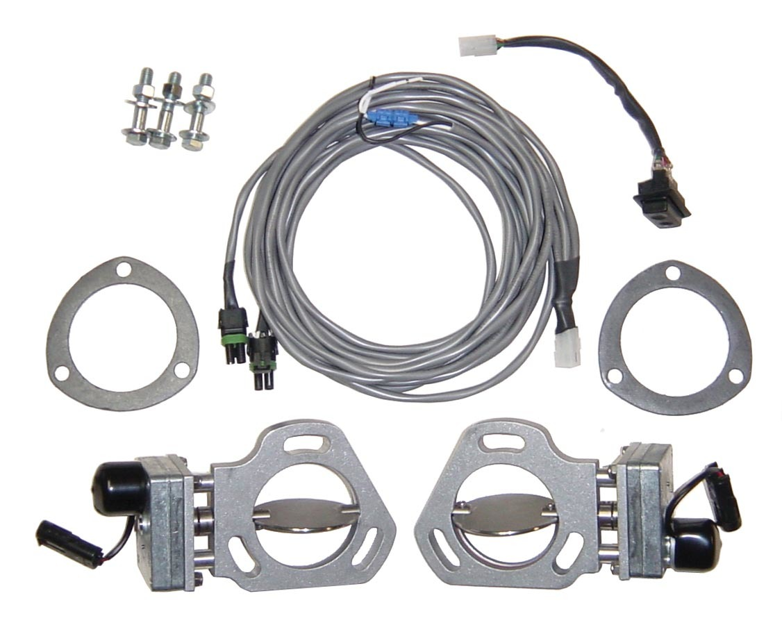 Pypes Performance Exhaust HVE10 Exhaust Cut-Out, Electric, Bolt-On, Dual, 3 in Pipe Diameter, Hardware / Wire Harness Included, Aluminum / Stainless, Natural, Kit
