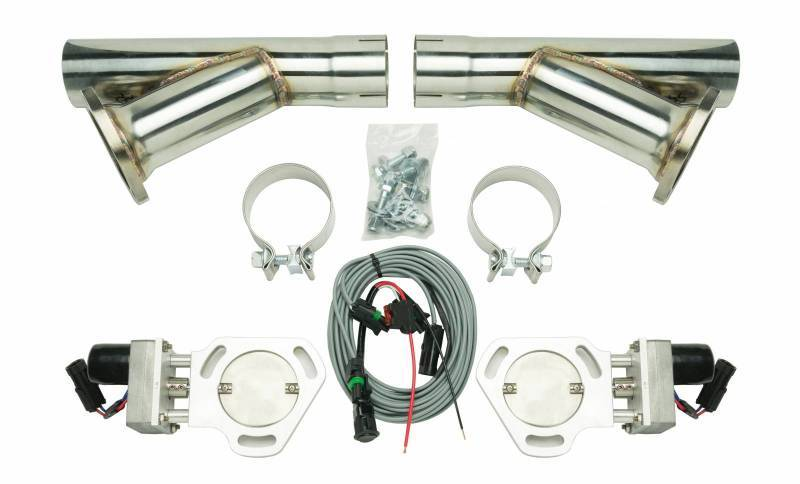 Pypes Performance Exhaust HVE10K Exhaust Cut-Out, Electric, Clamp-On, Dual, 2-1/2 in Pipe Diameter, Hardware / Wire Harness / Y-Pipe Included, Aluminum / Stainless, Natural / Polished, Kit