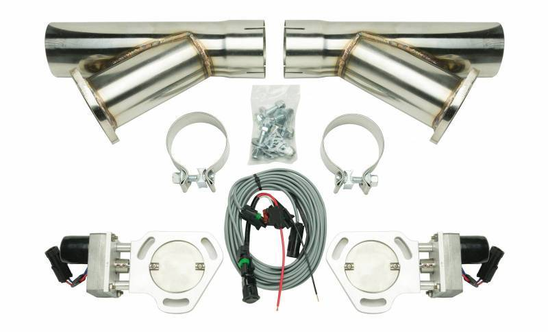 Pypes Performance Exhaust HVE10K3 Exhaust Cut-Out, Electric, Clamp-On, Dual, 3 in Pipe Diameter, Hardware / Wire Harness / Y-Pipes Included, Aluminum / Stainless, Natural / Polished, Kit