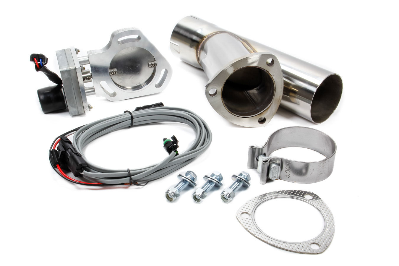 Pypes Performance Exhaust HVE13K Exhaust Cut-Out, Electric, Clamp-On, Single, 3 in Pipe Diameter, Hardware / Wire Harness / Y-Pipe Included, Aluminum / Stainless, Natural / Polished, Kit