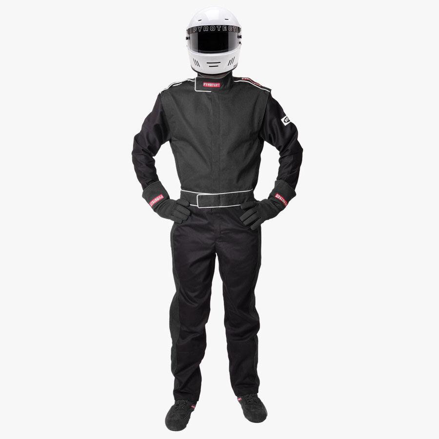 Pyrotect 110201 Suit, Sportsman Deluxe, Driving, 1 Piece, SFI 3.2A/1, Single Layer, Fire Retardant Cotton, Black, Medium, Each
