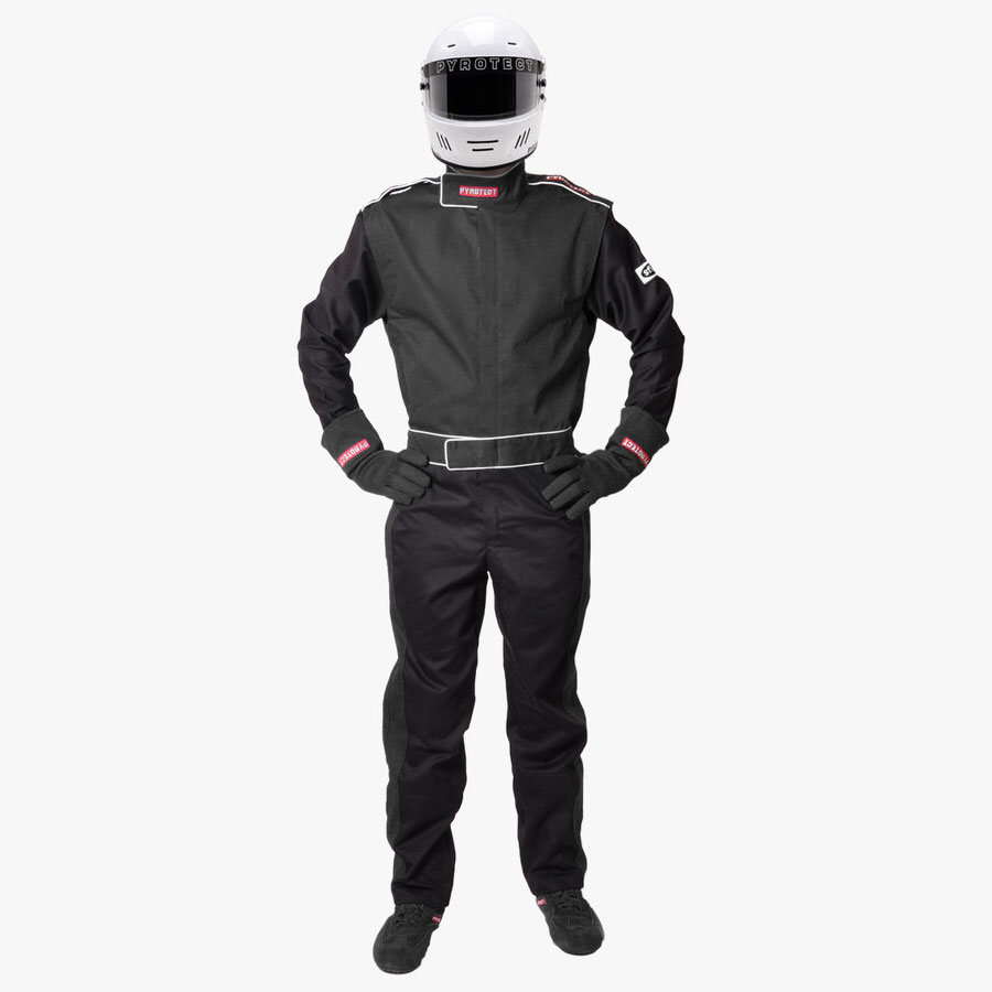 Pyrotect 110401 Suit, Sportsman Deluxe, Driving, 1 Piece, SFI 3.2A/1, Single Layer, Fire Retardant Cotton, Black, Large, Each