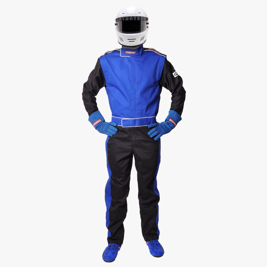 Pyrotect 110403 Suit, Sportsman Deluxe, Driving, 1 Piece, SFI 3.2A/1, Single Layer, Fire Retardant Cotton, Blue, Large, Each