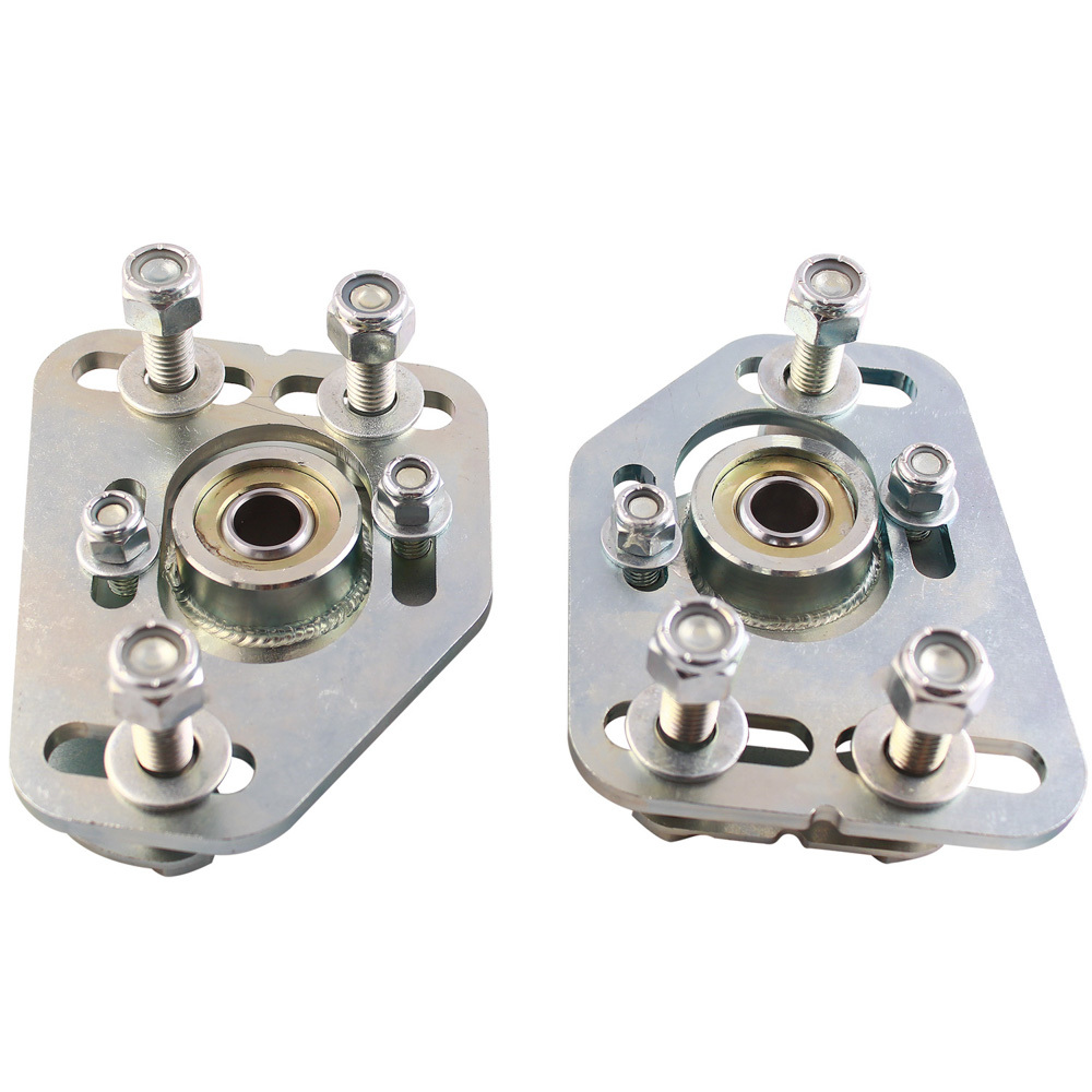QA1 CC102MU Caster/Camber Plates, Strut, Independent Caster/Camber Adjustment, Steel, Zinc Oxide, Ford Mustang 1990-93, Kit