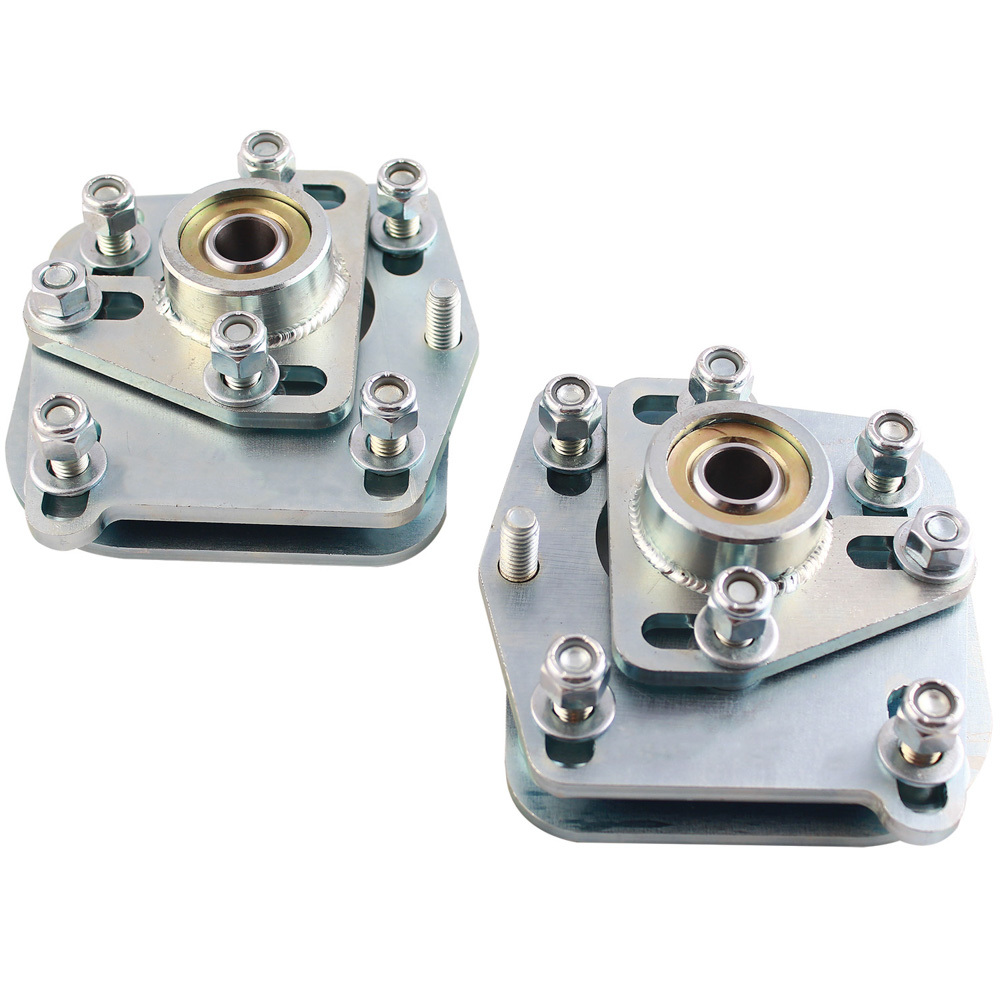 QA1 CC104MU Caster/Camber Plates, Strut, Independent Caster/Camber Adjustment, Steel, Zinc Oxide, Ford Mustang 1994-2004, Kit