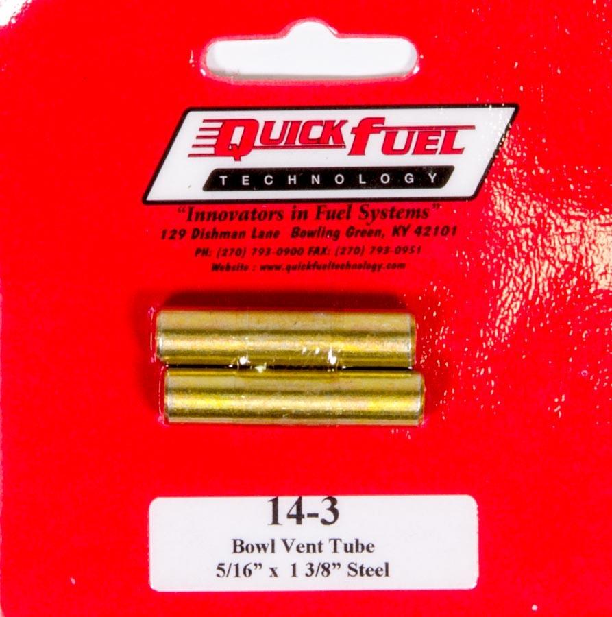 Quick Fuel 14-3 Carburetor Vent Tube, Straight Cut, Steel, Natural, Quick Fuel Carburetors, Pair