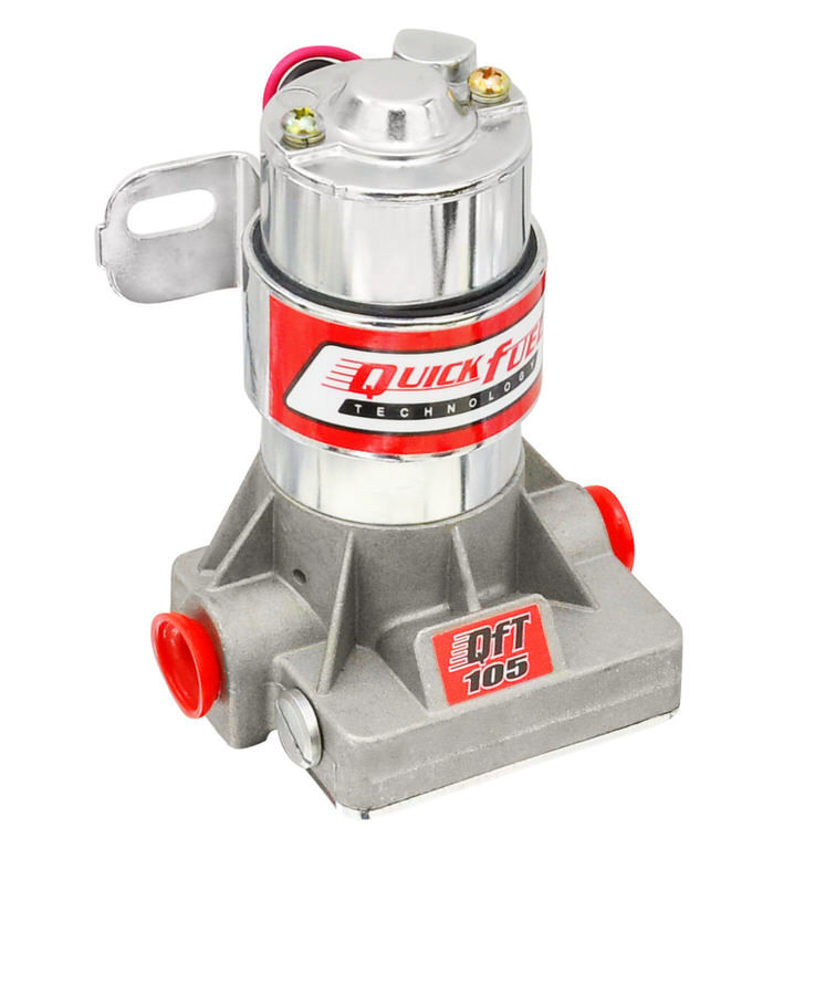 Quick Fuel 30-105 Fuel Pump, Electric, In-Line, 105 gph at 14 psi, 3/8 in NPT Inlet, 3/8 in NPT Outlet, Silver, Gas, Each