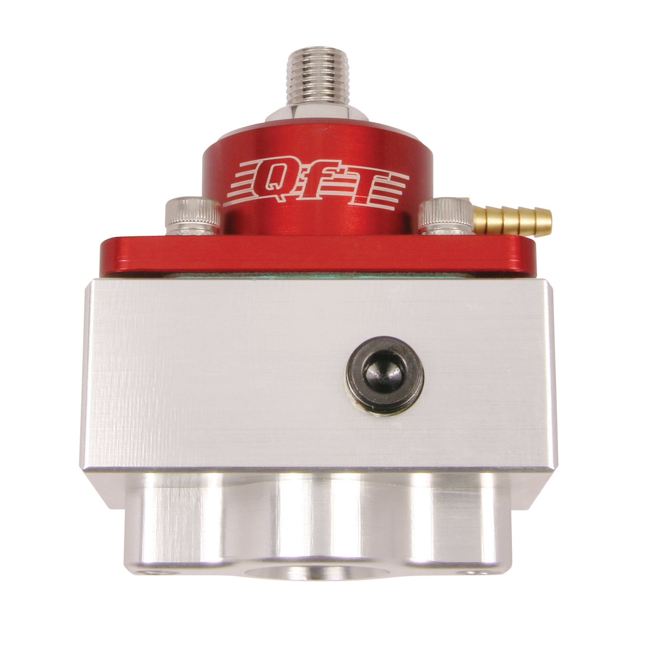 Quick Fuel 30-1900 Fuel Pressure Regulator, 4-1/2 to 9 psi, In-Line, 8 AN Female O-Ring Inlet, 8 AN Female O-Ring Outlet, 8 AN Female O-Ring Return, Bypass, 1/8 in NPT Port, Aluminum, Red / Clear Anodized, E85 / Gas / Methanol, Each