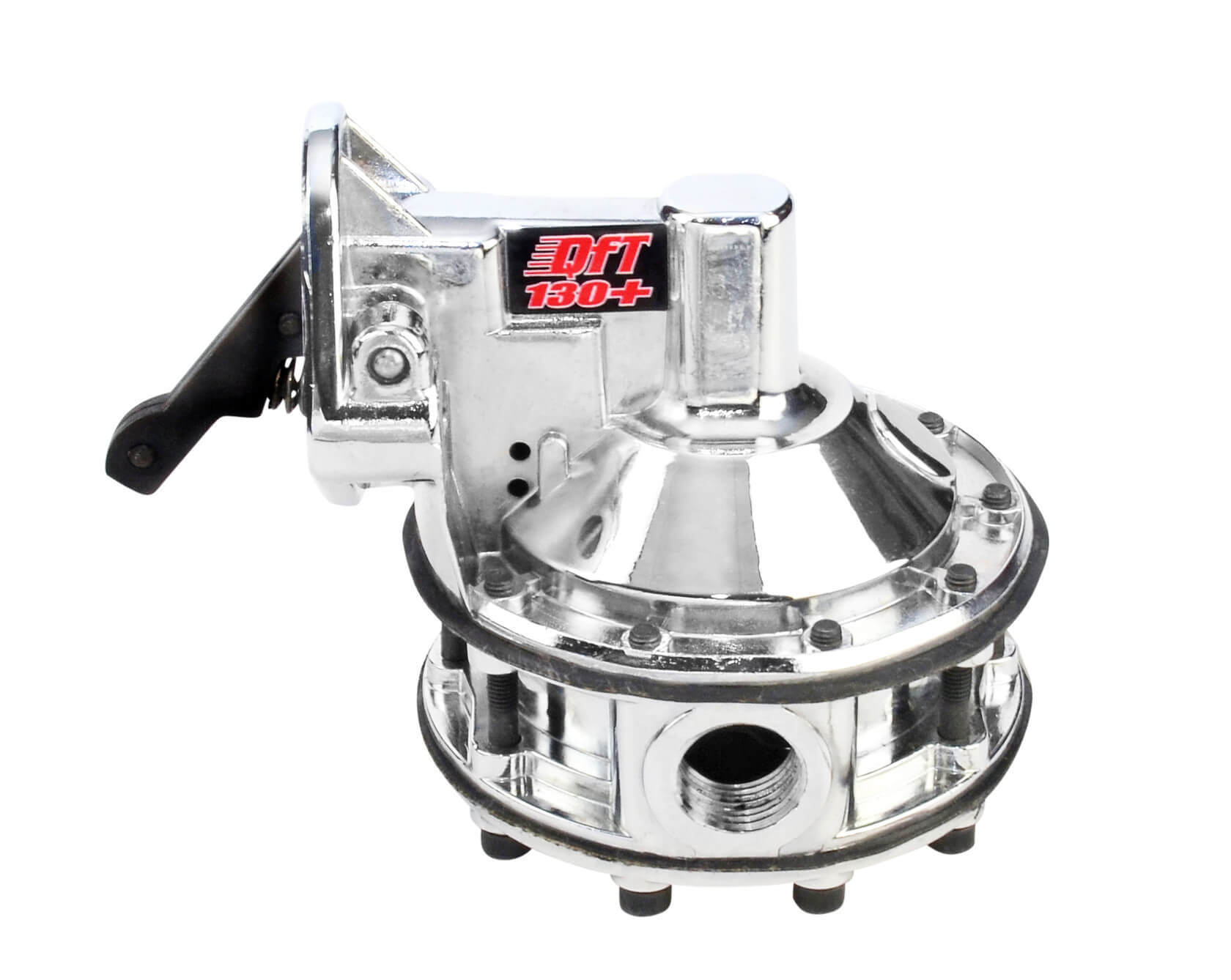 Quick Fuel Technology 30-350-1R Fuel Pump, Mechanical, 130 Plus gph, 12-16 psi, 1/2 in NPT Female Inlet, 1/2 n NPT Female Outlet, Aluminum, Polished, E85/Gas/Methanol, Small Block Chevy, Each