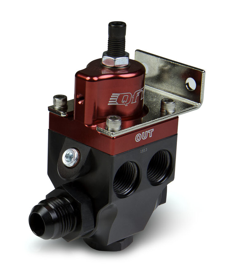 Quick Fuel 30-7023 Fuel Pressure Regulator, 5 to 8 psi, In-Line, 8 AN Female O-Ring Inlet, Four 8 AN Female O-Ring Outlets, Red / Black Anodized, E85 / Gas / Diesel / Methanol, Each