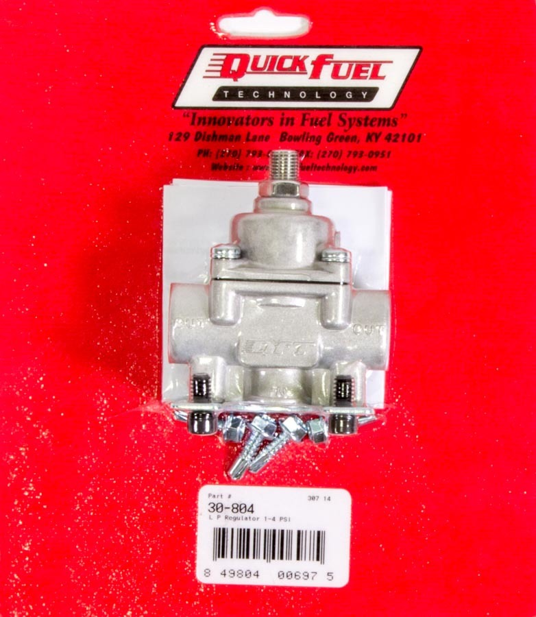 Quick Fuel 30-804 Fuel Pressure Regulator, 1 to 4 psi, In-Line, 3/8 in NPT Inlet, 3/8 in NPT Outlet, Aluminum, Natural, Gas, Each