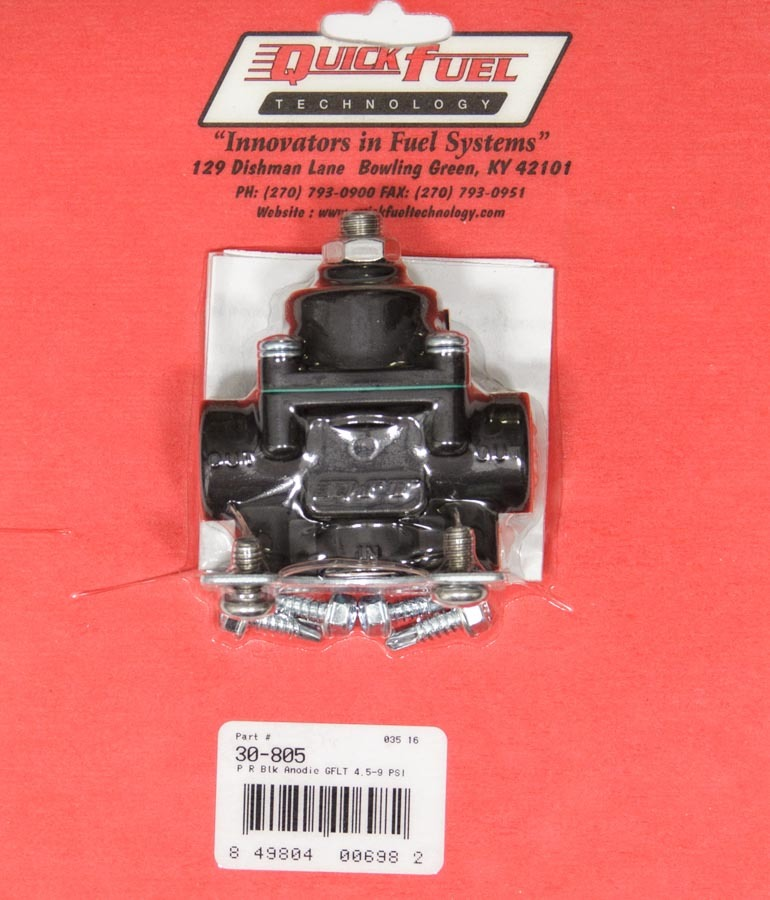 Quick Fuel 30-805 Fuel Pressure Regulator, 4-1/2 to 9 psi, In-Line, 3/8 in NPT Inlet, 3/8 in NPT Outlet, Aluminum, Black Anodize, Methanol, Each