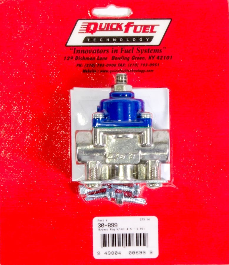 Quick Fuel 30-899 Fuel Pressure Regulator, 4-1/2 to 9 psi, In-Line, 3/8 in NPT Female Inlet, 3/8 in NPT Female Outlet, 3/8 in NPT Female Return, Bypass, Aluminum, Blue / Natural, E85 / Gas / Methanol, Each