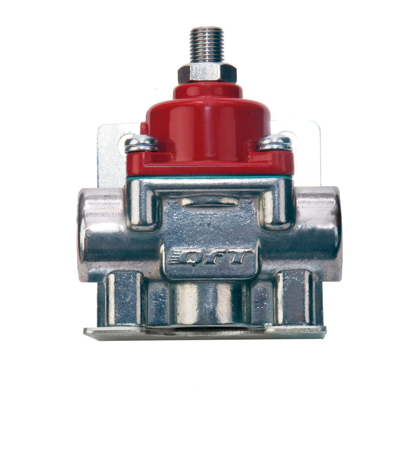 Quick Fuel 30-900 Fuel Pressure Regulator, 4-1/2 to 9 psi, In-Line, 3/8 in NPT Female Inlet, 3/8 in NPT Female Outlet, 3/8 in NPT Female Return, Bypass, Aluminum, Red / Natural, E85 / Gas / Methanol, Each