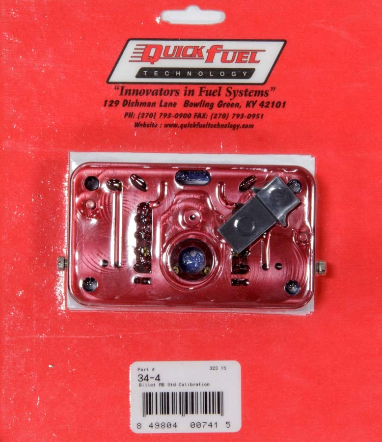Quick Fuel Technology 34-4 Metering Block, Gaskets/Vent Baffle, Aluminum, Red Anodize, Primary or Secondary, Holley 4150/Quick Fuel Carburetors, Kit