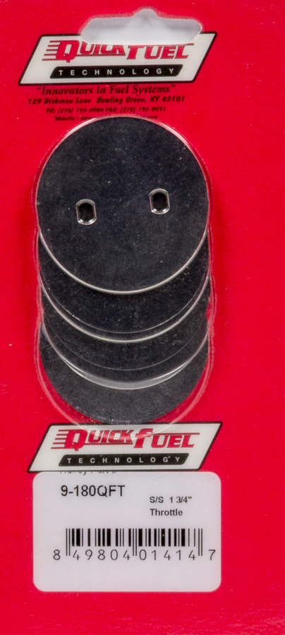 Quick Fuel Technology 9-180 Throttle Plate Kit, 1-3/4 in OD, Steel, Quick Fuel Carburetors, Set of 4