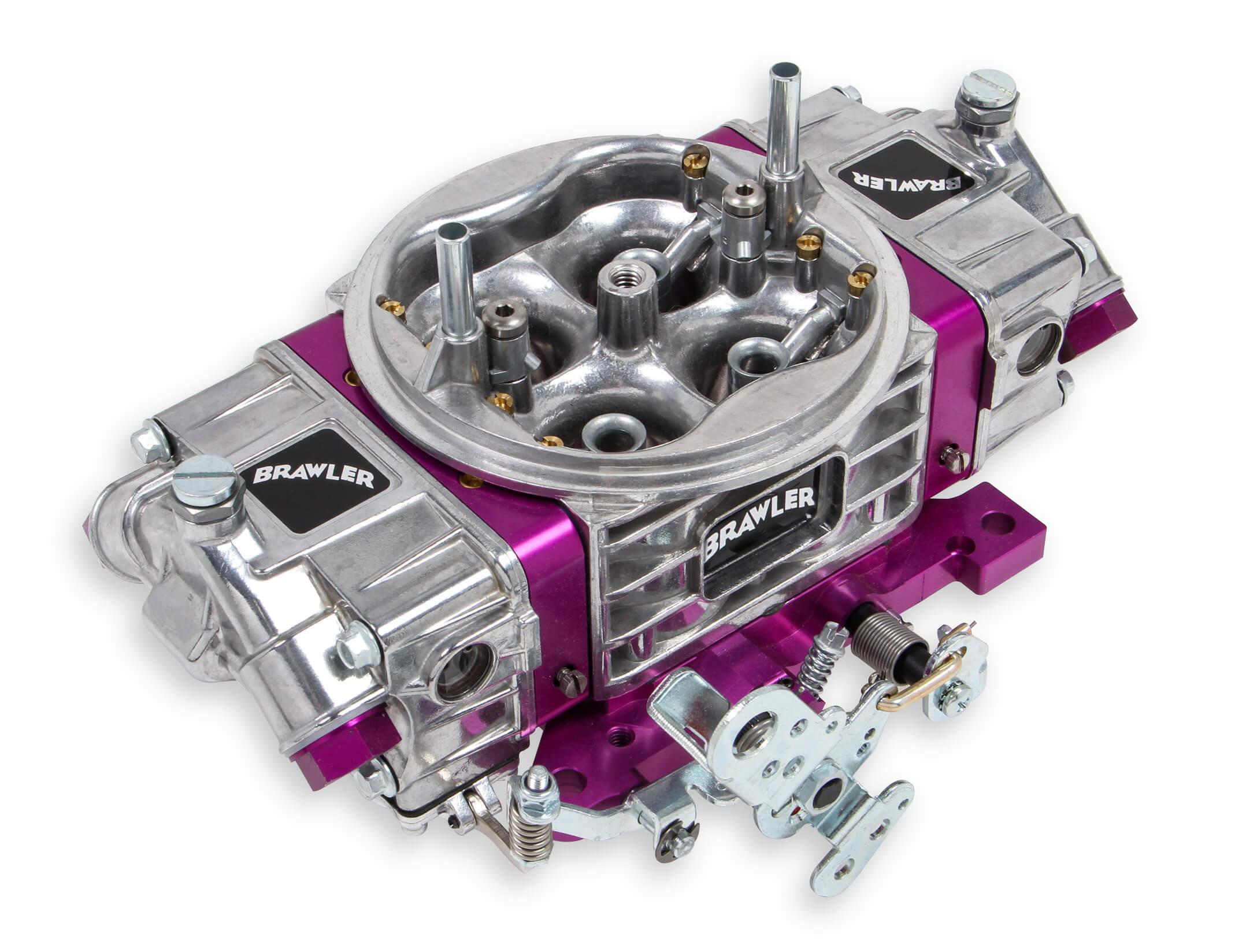 Quick Fuel BR-67215 Carburetor, Brawler Race, 4-Barrel, 750 CFM, Square Bore, No Choke, Mechanical Secondary, Dual Inlet, Polished / Purple Anodize, Each
