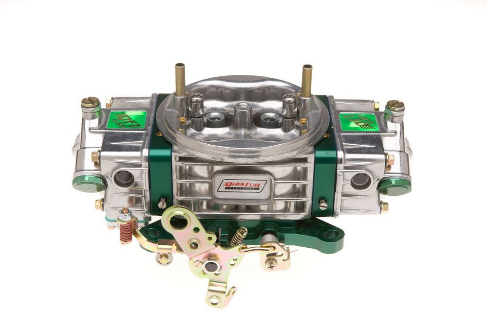 Quick Fuel Q-1050-E85 Carburetor, Q-Series Drag Race E85, 4-Barrel, 1050 CFM, Square Bore, No Choke, Mechanical Secondary, Dual Inlet, Polished / Green Anodize, Each