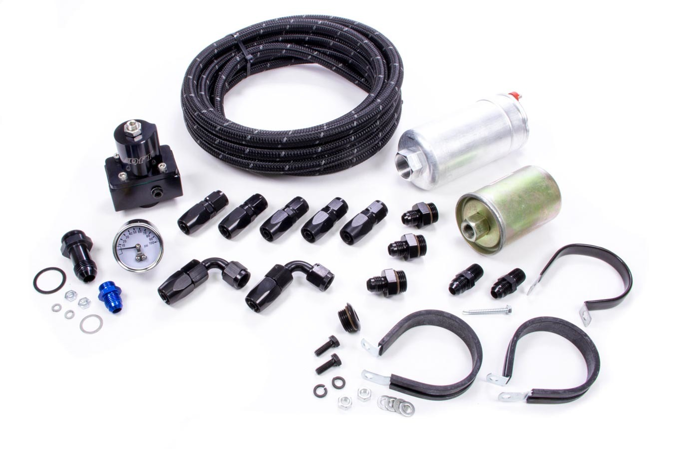 Quick Fuel QFI-502 Fuel System, QFI, Braided Nylon Hose / Filters / Fittings / Pump / Regulator, 6 AN, Black / Silver, Kit