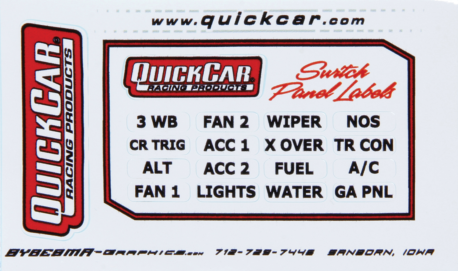 QuickCar 50-003 Information Sticker, Switch Panel, 16 Various Functions, 6 or More Switches, Quickcar Switch Panel, Each