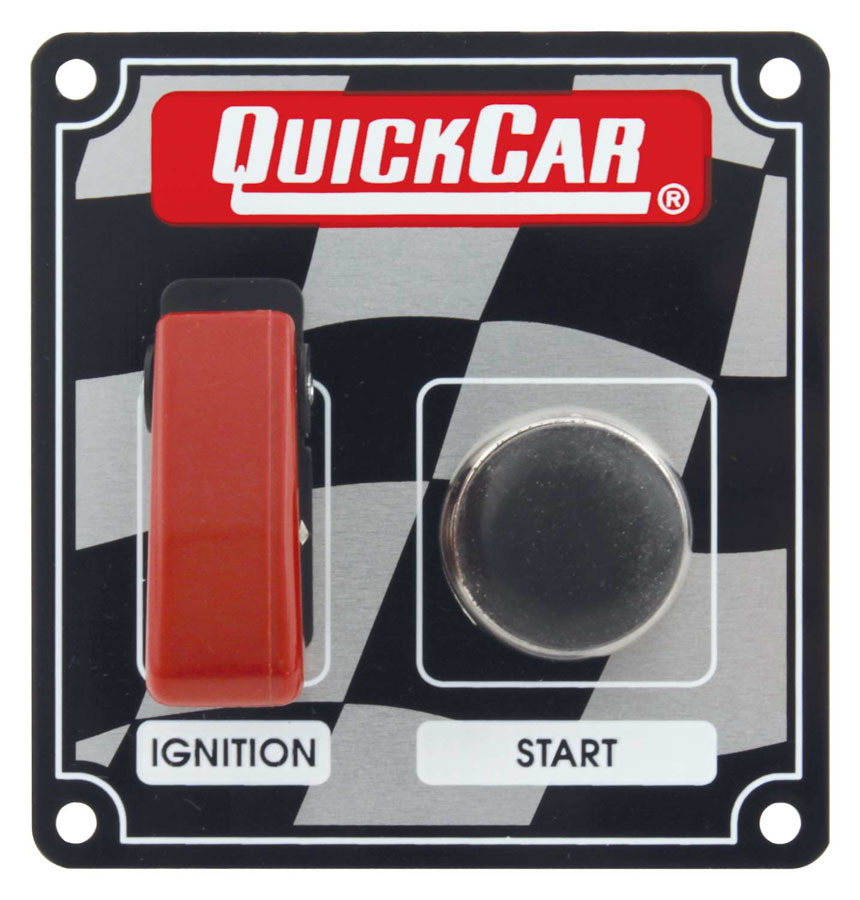 QuickCar 50-103 Switch Panel, Dash Mount, 3-3/8 x 3-5/8 in, 1 Safety Cover Toggle / 1 Momentary Button, Checkered, Kit