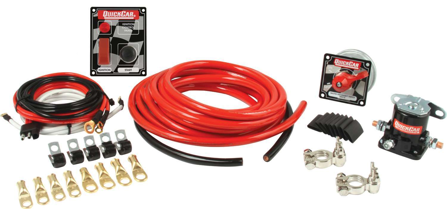 QuickCar 50-230 Wiring Kit, Ignition / Battery, Heavy Duty, Battery Cable / Battery Disconnect / Solenoid / Switch Panel / Terminals, 2 Gauge, Kit