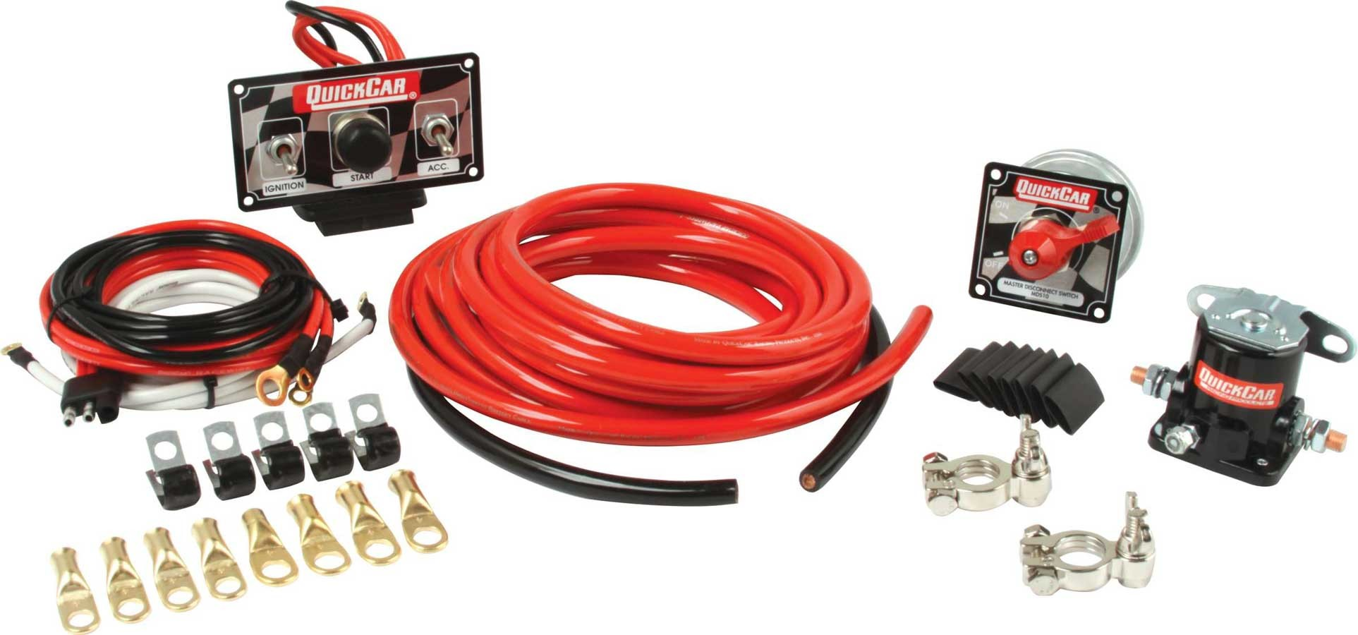 QuickCar 50-232 Wiring Kit, Ignition / Battery, Premium, Battery Cable / Battery Disconnect / Solenoid / Switch Panel / Terminals, 4 Gauge, Kit