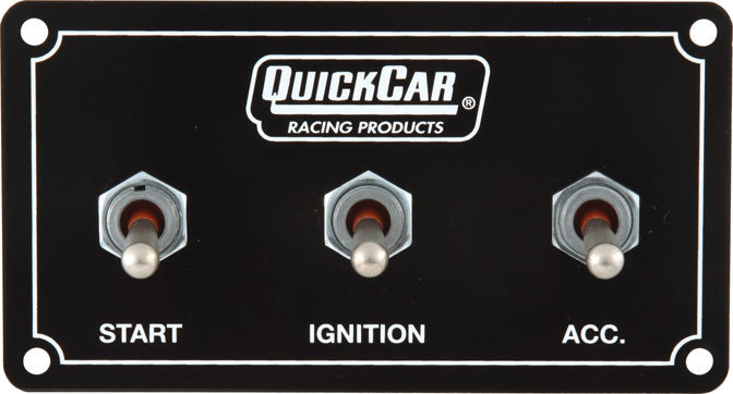 QuickCar 50-731 Switch Panel, Extreme, Dash Mount, 4-5/8 x 2-1/2 in, 2 Toggles / 1 Momentary Toggle, Black, Each