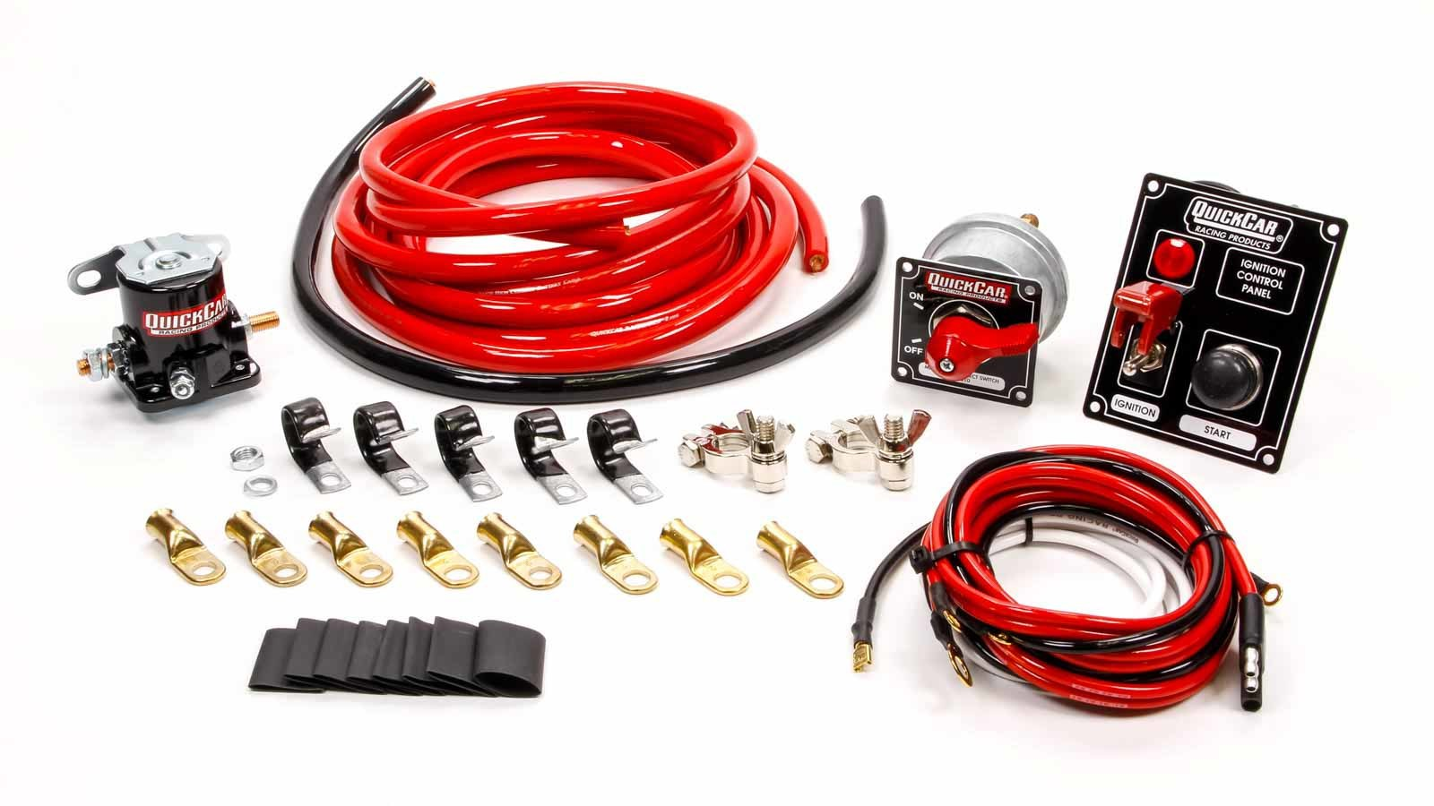 QuickCar 50-830 Wiring Kit, Ignition / Battery, Heavy Duty, Battery Cable / Battery Disconnect / Solenoid / Switch Panel / Terminals, 2 Gauge, Kit