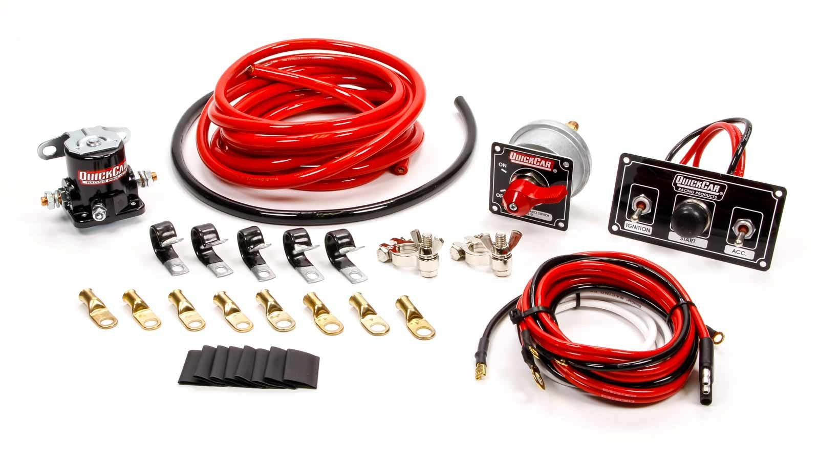 QuickCar 50-832 Wiring Kit, Ignition / Battery, Premium, Battery Cable / Battery Disconnect / Solenoid / Switch Panel / Terminals, 4 Gauge, Kit