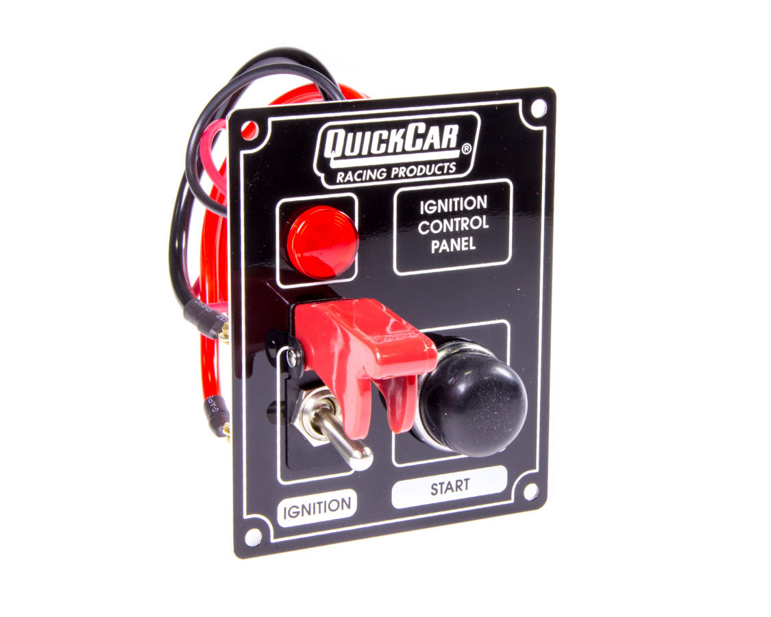 QuickCar 50-853 Switch Panel, Dash Mount, 3-3/8 x 4-1/4 in, 1 Safety Cover Toggle / 1 Momentary Button, Indicator Lights, Black, Each