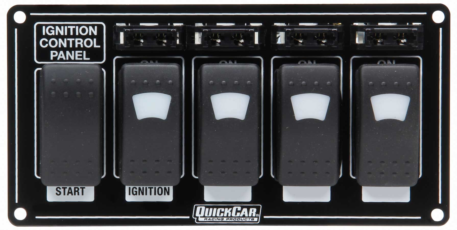 QuickCar 52-864 Switch Panel, Dash Mount, 7 x 3-1/2 in, 4 Rockers / 1 Momentary Rocker, Lighted, Fused, Black, Each