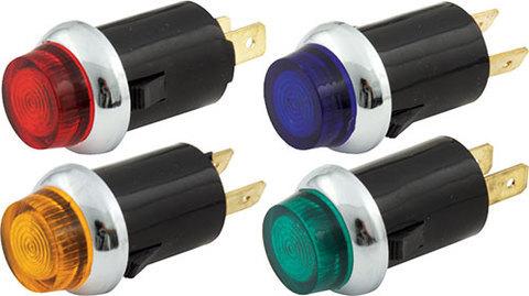 QuickCar 61-706 Warning Light, 12V, 3/4 in Diameter, Amber / Blue / Green / Red, Quickcar Gauges, Kit