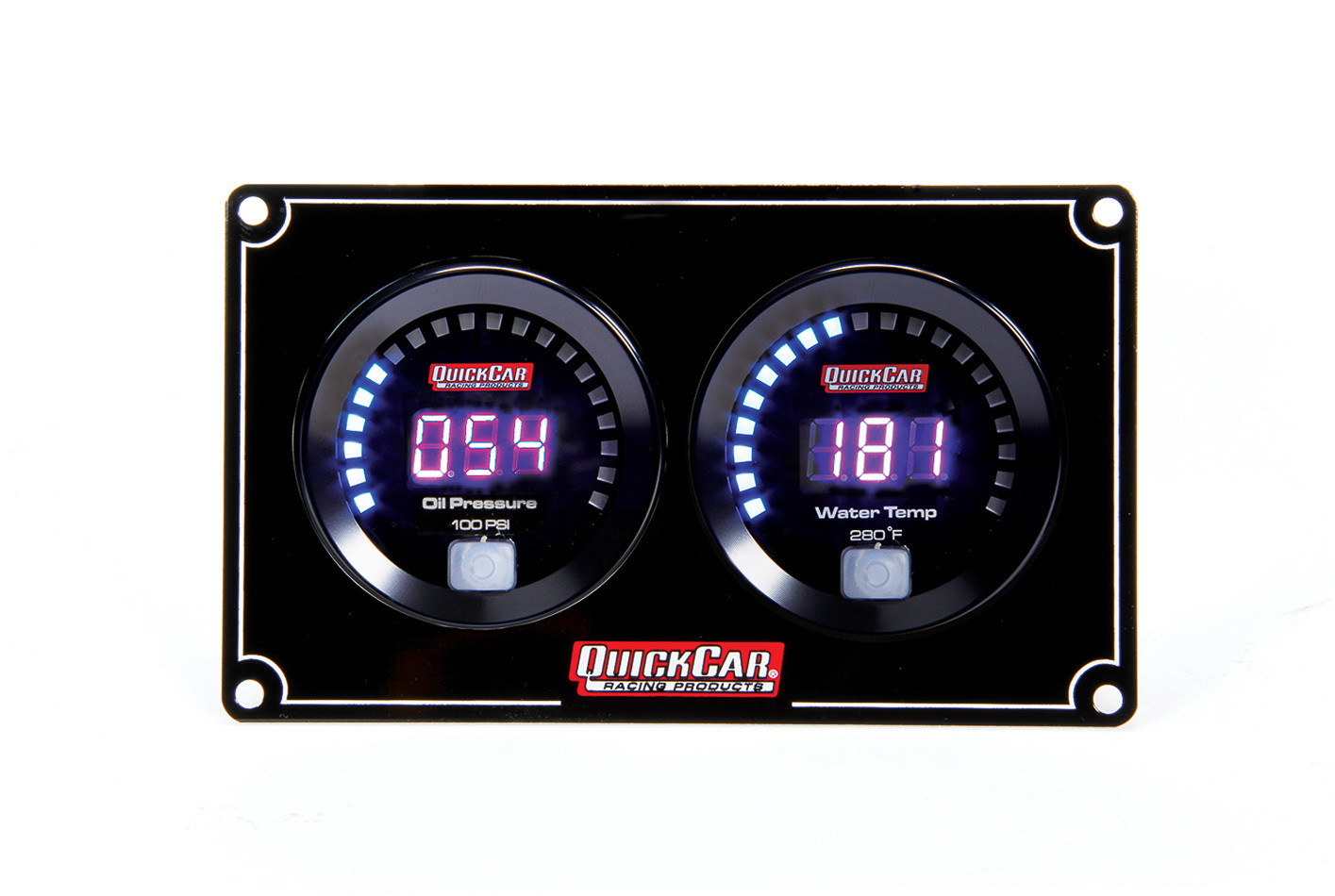 QuickCar 67-2001 Gauge Panel Assembly, Digital, Oil Pressure / Water Temperature, Black Face, Kit