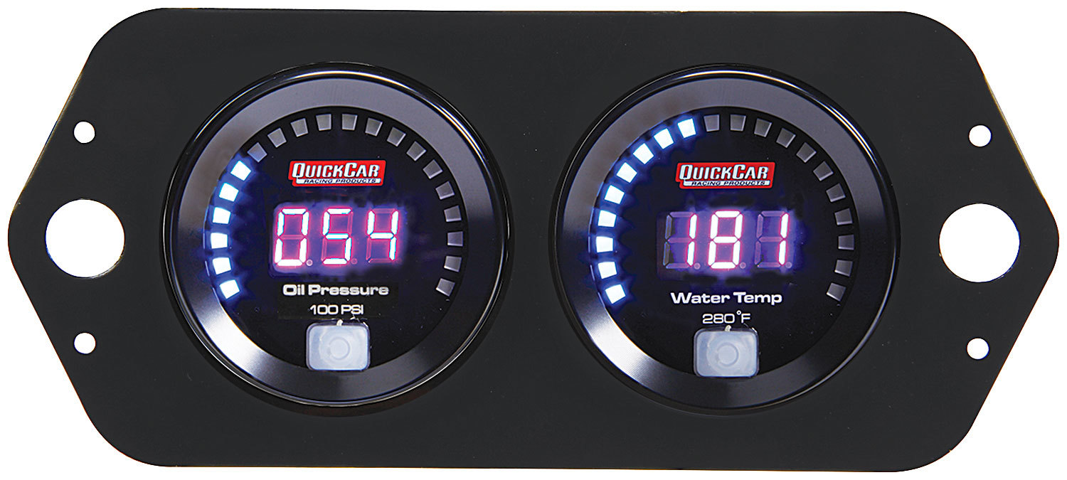 QuickCar 67-2004 Gauge Panel Assembly, Digital, Oil Pressure / Water Temperature, Black Face, Kit
