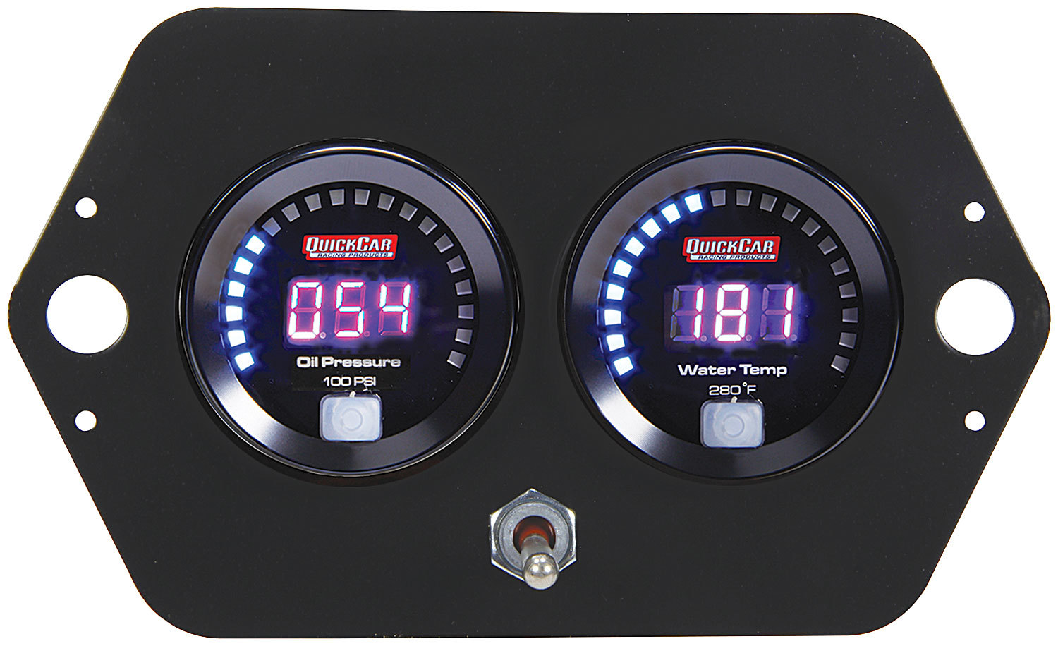 QuickCar 67-2005 Gauge Panel Assembly, Competition, Oil Pressure / Water Temperature, Black Face, Kit
