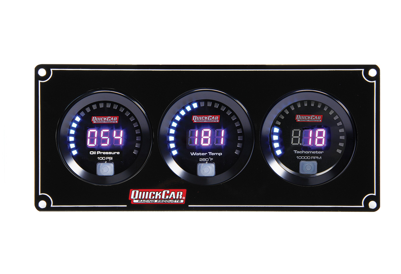 QuickCar 67-2031 Gauge Panel Assembly, Competition, Oil Pressure / Water Temperature / Tachometer, Black Face, Kit