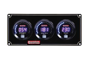 QuickCar 67-3011 Gauge Panel Assembly, Digital, Oil Pressure / Water Temperature / Oil Temperature, Black Face, Kit