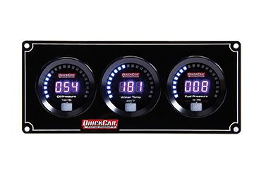 QuickCar 67-3012 Gauge Panel Assembly, Digital, Oil Pressure / Water Temperature / Fuel Pressure, Black Face, Kit