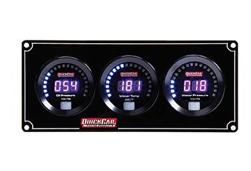 QuickCar 67-3016 Gauge Panel Assembly, Digital, Oil Pressure / Water Temperature / Water Pressure, Black Face, Kit