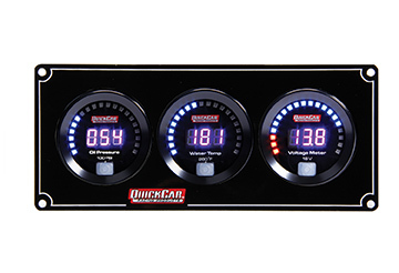 QuickCar 67-3017 Gauge Panel Assembly, Digital, Oil Pressure / Water Temperature / Voltmeter, Black Face, Kit