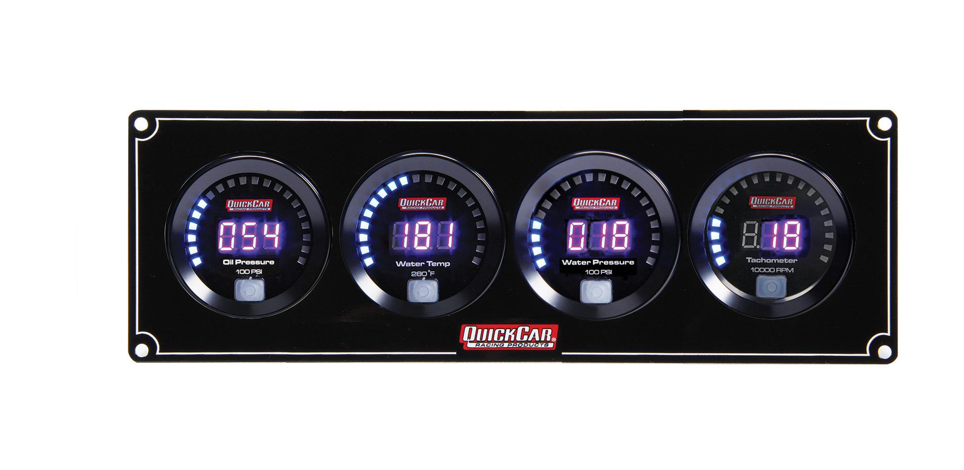 QuickCar 67-3046 Gauge Panel Assembly, Digital, Oil Pressure / Water Temperature / Water Pressure / Tachometer, Black Face, Kit