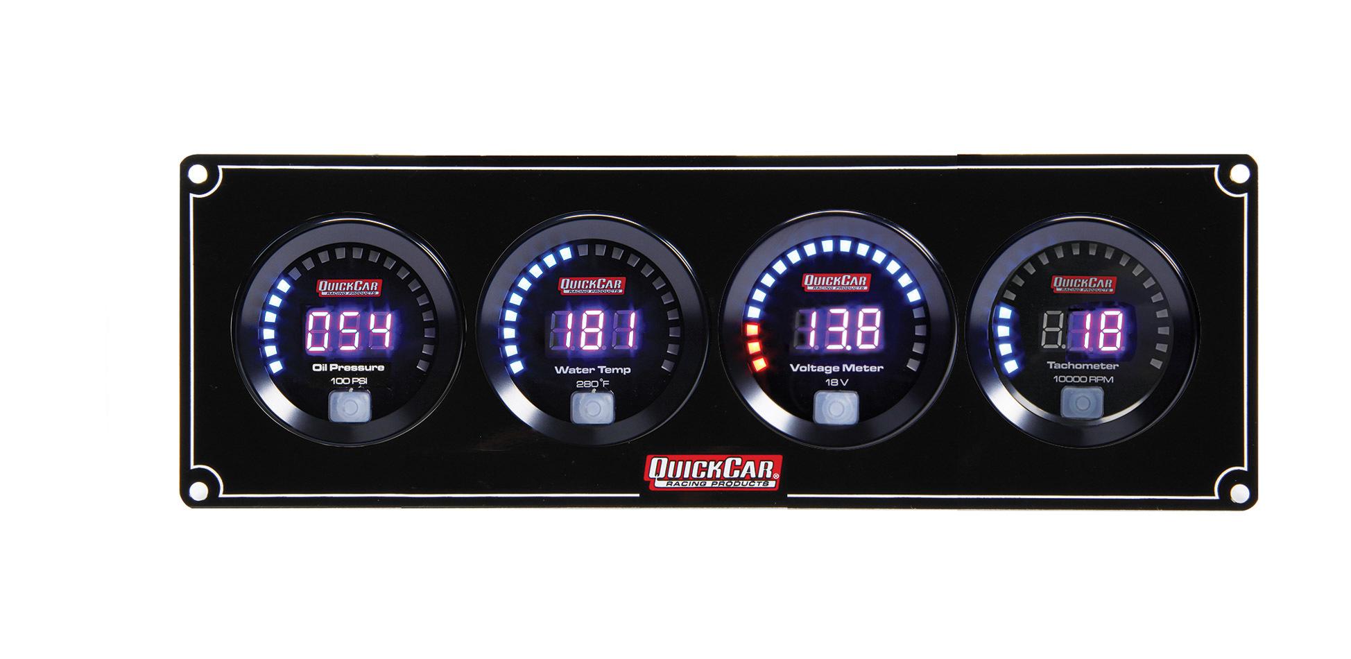 QuickCar 67-3047 Gauge Panel Assembly, Digital, Oil Pressure / Water Temperature / Voltmeter / Tachometer, Black Face, Kit