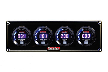 QuickCar 67-4021 Gauge Panel Assembly, Digital, Oil Pressure / Water Temperature / Oil Temperature / Fuel Pressure, Black Face, Kit