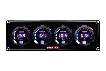 QuickCar 67-4026 Gauge Panel Assembly, Digital, Oil Pressure / Water Temperature / Fuel Pressure / Water Pressure, Black Face, Kit