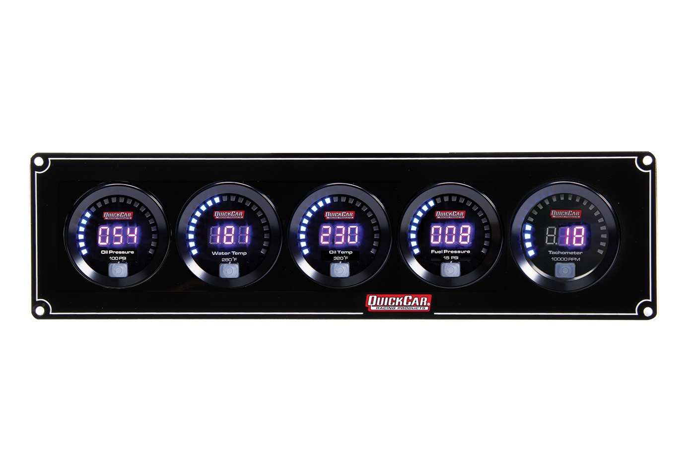 QuickCar 67-4051 Gauge Panel Assembly, Digital, Oil Pressure / Water Temperature / Oil Temperature / Fuel Pressure / Tachometer, Black Face, Kit