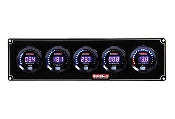 QuickCar 67-5037 Gauge Panel Assembly, Digital, Oil Pressure / Water Temperature / Oil Temperature / Fuel Pressure / Voltmeter, Black Face, Kit